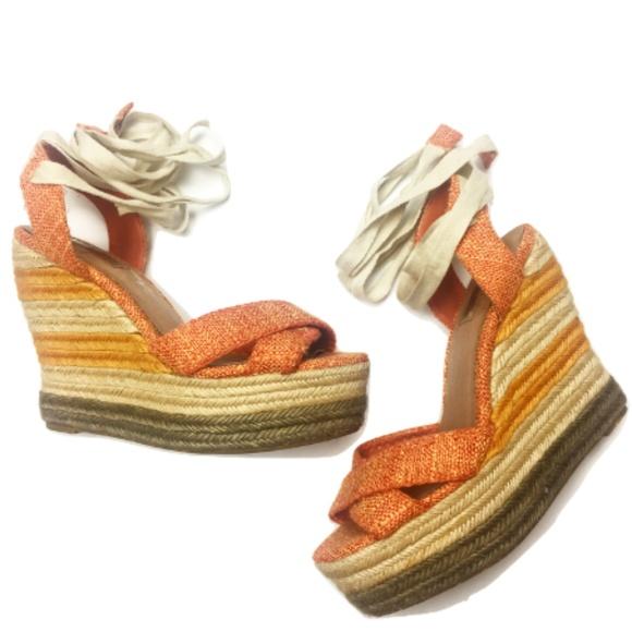 5d24f4c851c Halogen Shoes - Halogen Orange Thatch Lace-Up Wedges